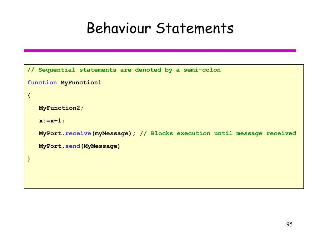 Behaviour Statements