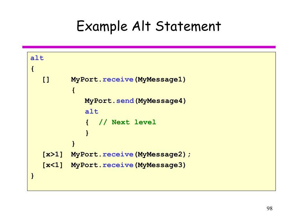 Example Alt Statement