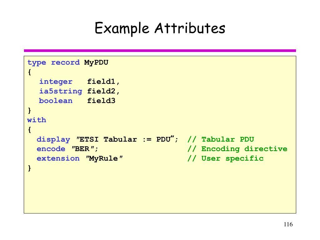Example Attributes