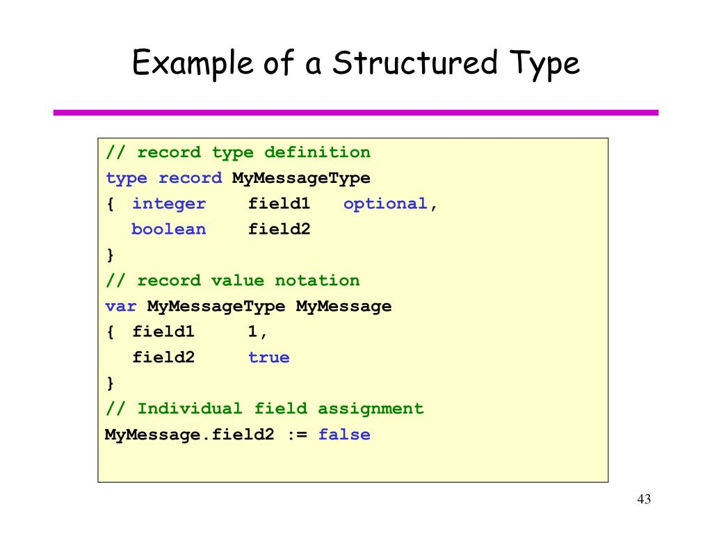 Example of a Structured Type