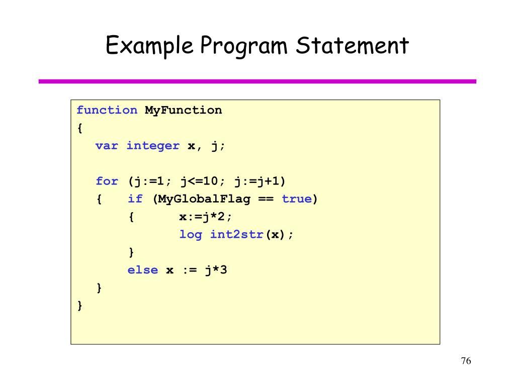 Example Program Statement
