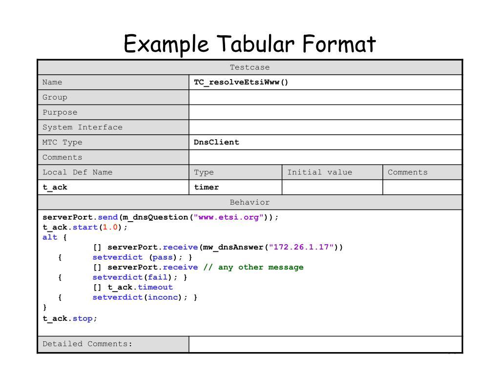 Example Tabular Format