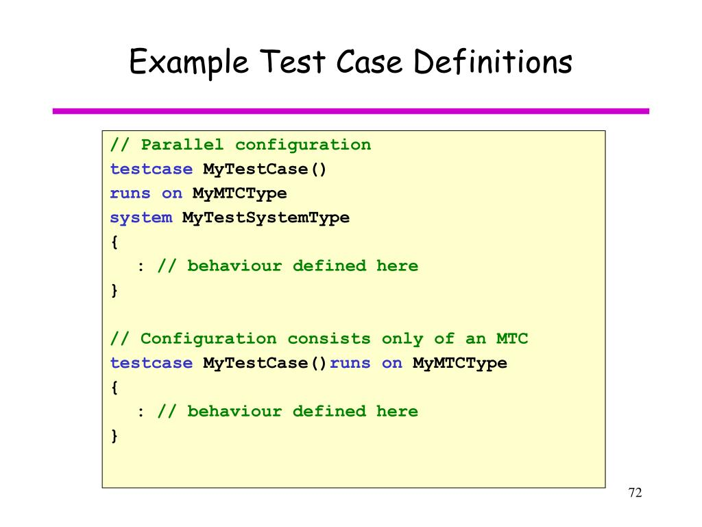 Example Test Case Definitions