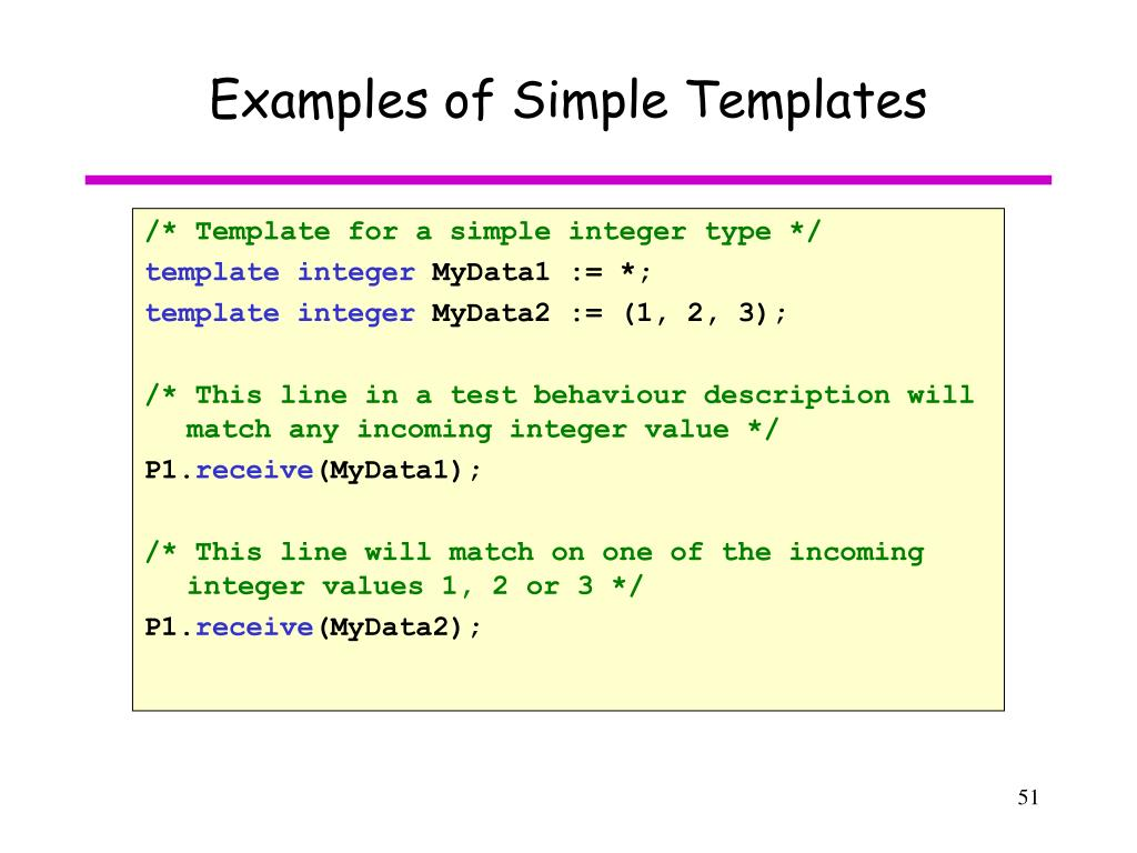 Examples of Simple Templates