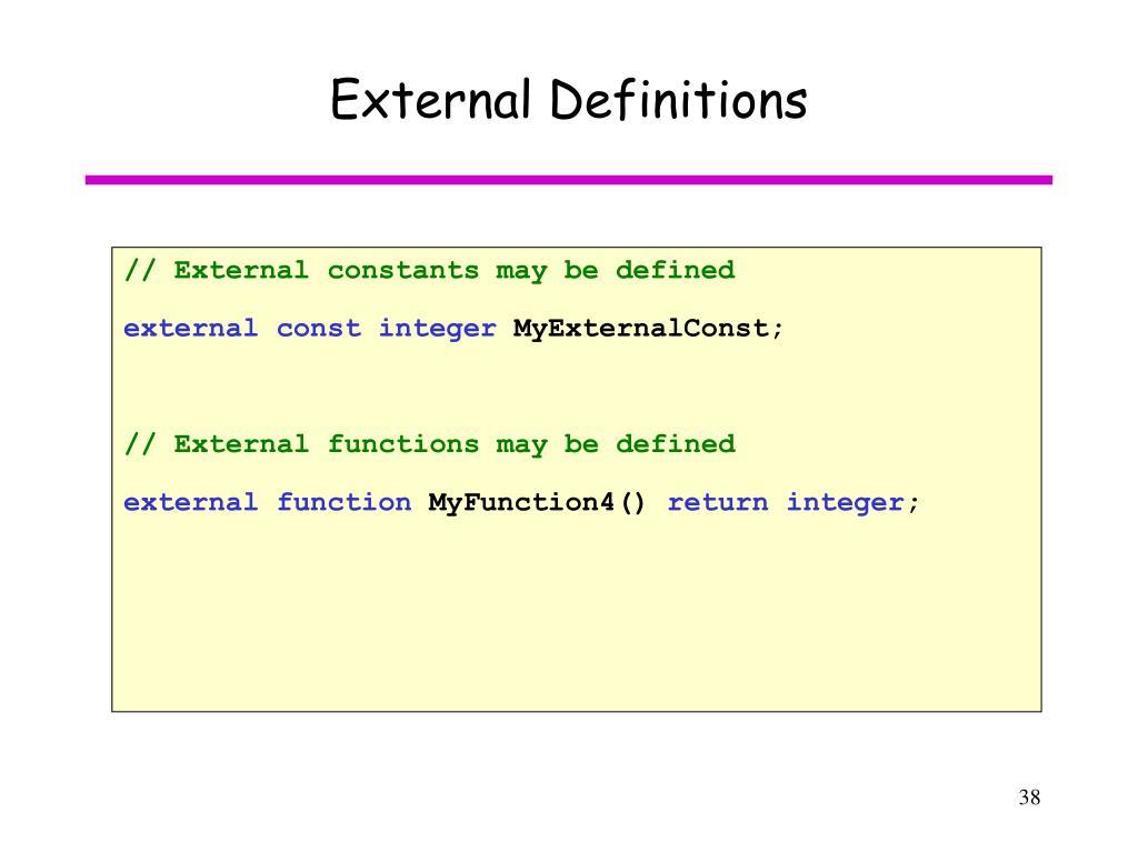 External Definitions