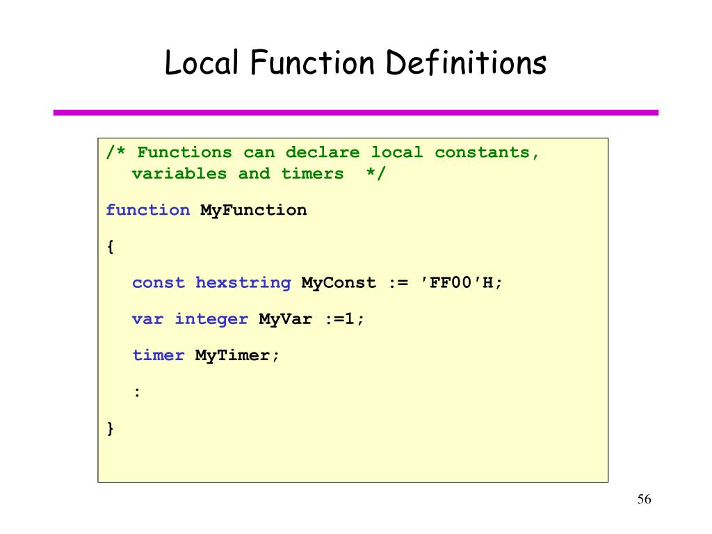 Local Function Definitions