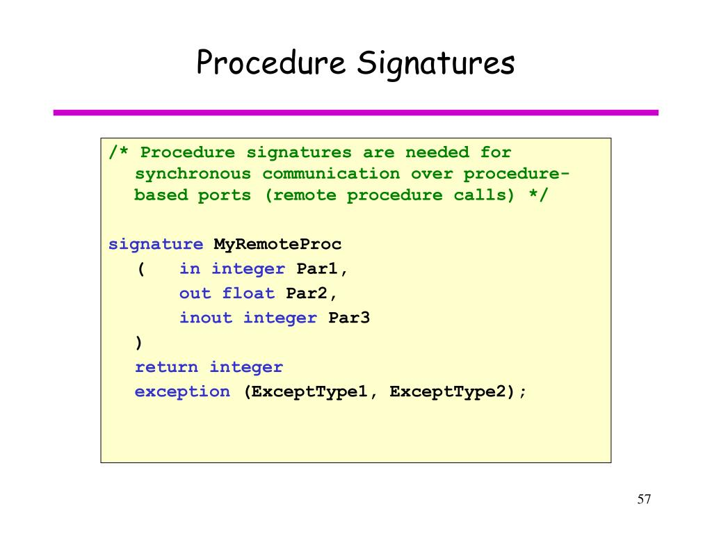 Procedure Signatures