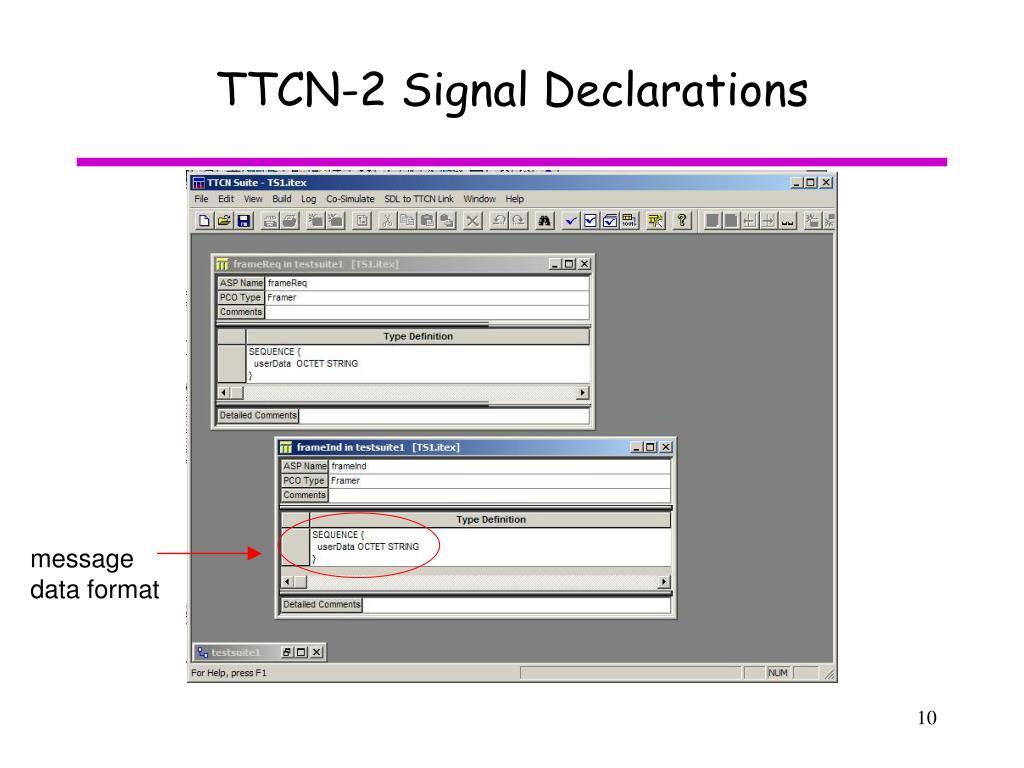 TTCN-2 Signal Declarations