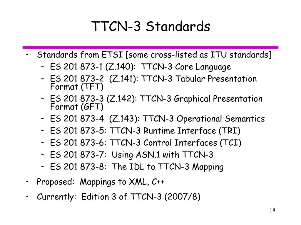 TTCN-3 Standards