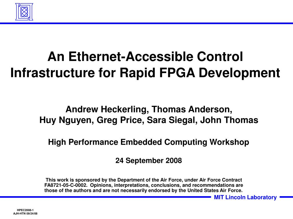 an ethernet accessible control infrastructure for rapid fpga development l.