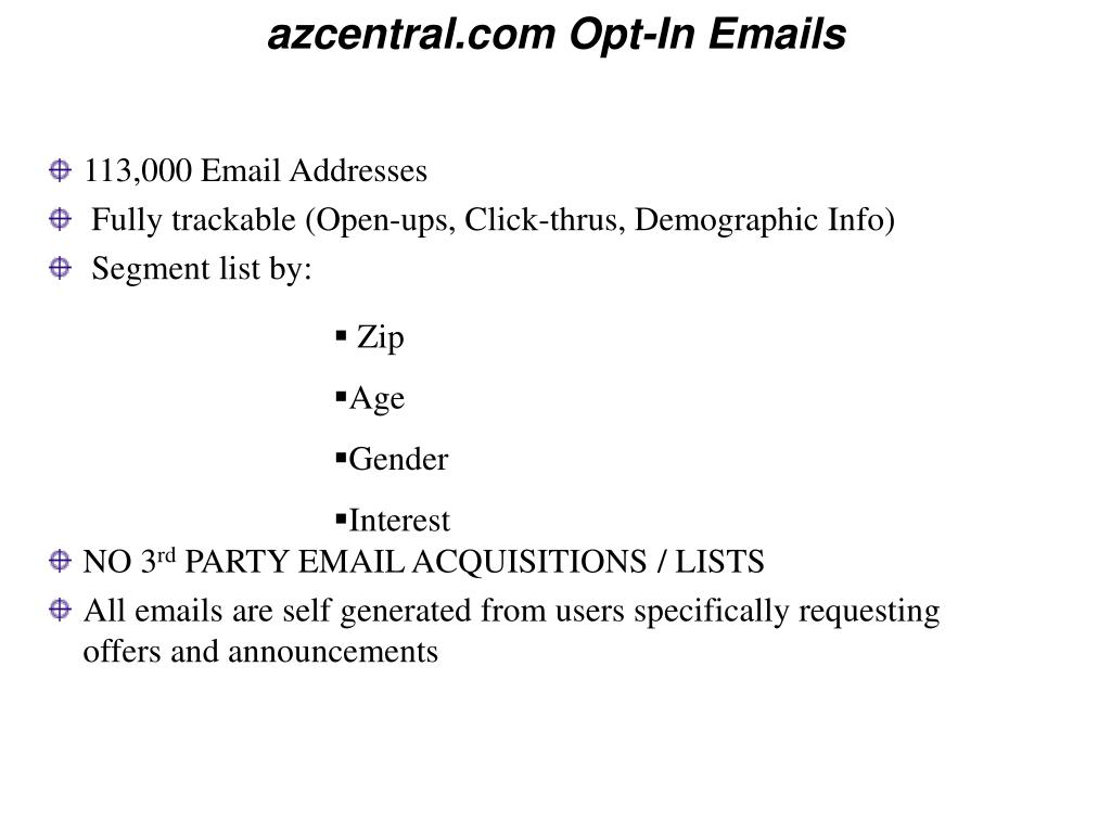 azcentral.com Opt-In Emails