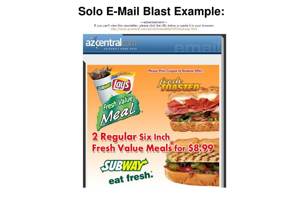 Solo E-Mail Blast Example: