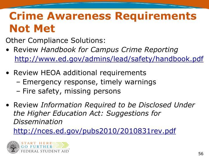 Crime Awareness Requirements Not Met