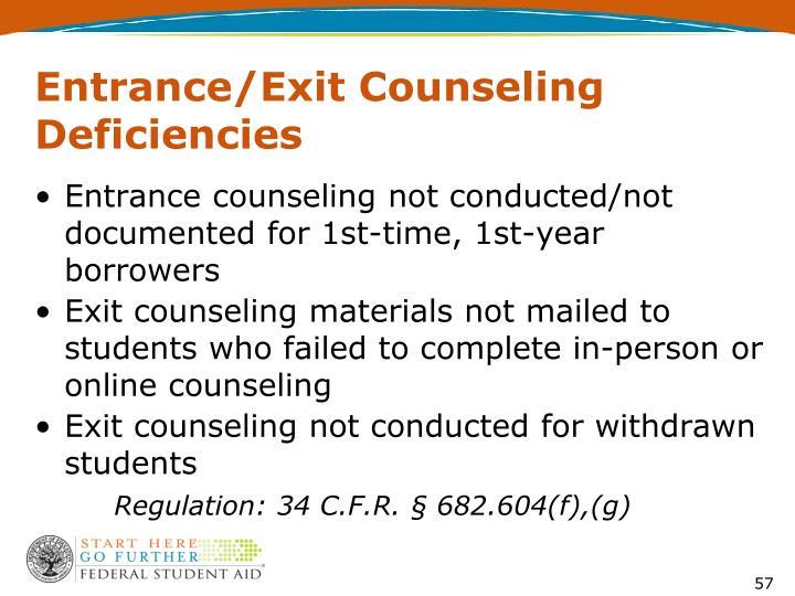 Entrance/Exit Counseling Deficiencies