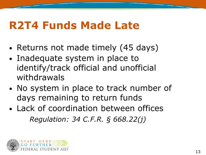 R2T4 Funds Made Late