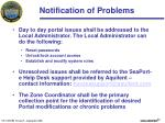 notification of problems