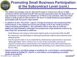 promoting small business participation at the subcontract level cont