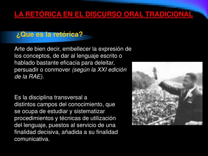 LA RETÓRICA EN EL DISCURSO ORAL TRADICIONAL