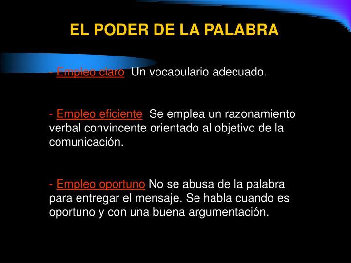 EL PODER DE LA PALABRA