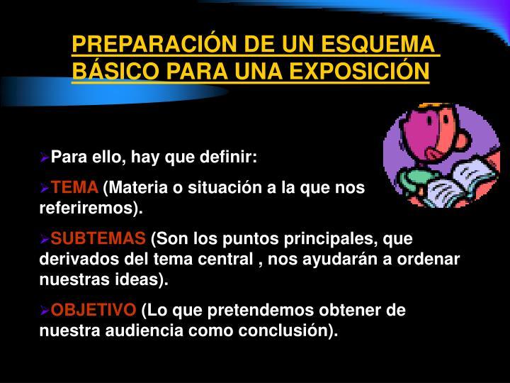 PREPARACIÓN DE UN ESQUEMA