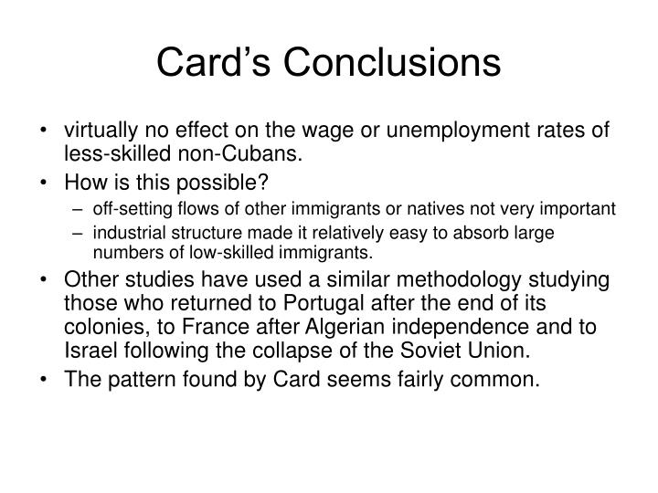 Card's Conclusions