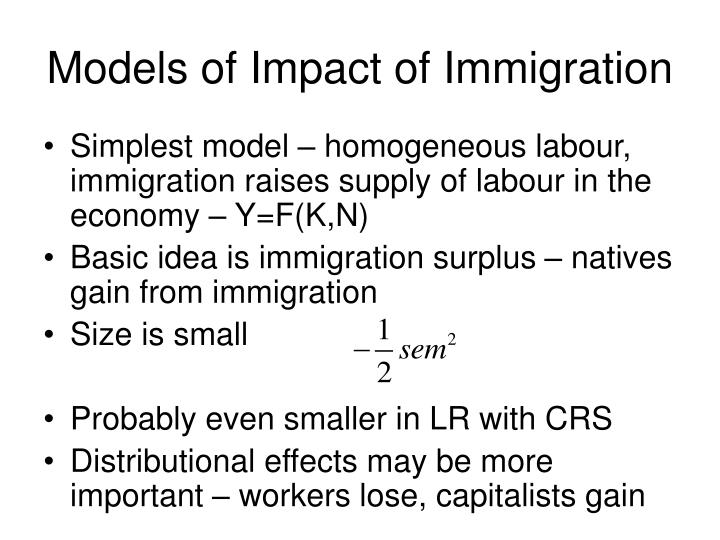 Models of Impact of Immigration