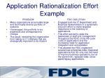 application rationalization effort example