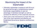 maximizing the impact of the stakeholder