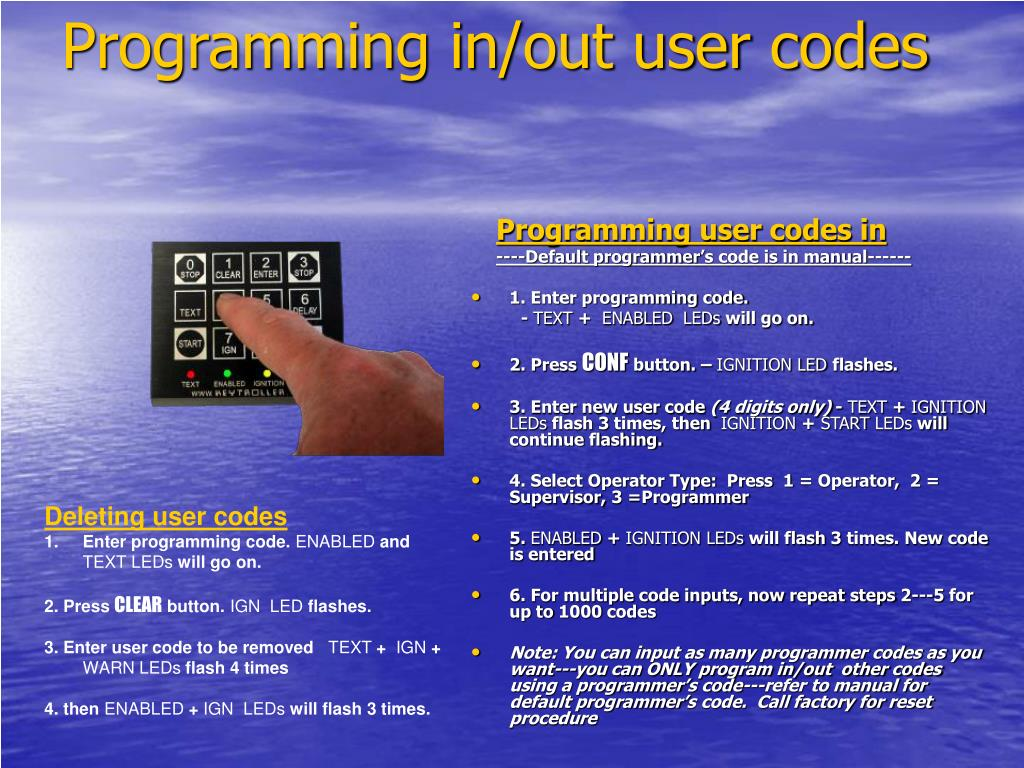 Programming in/out user codes