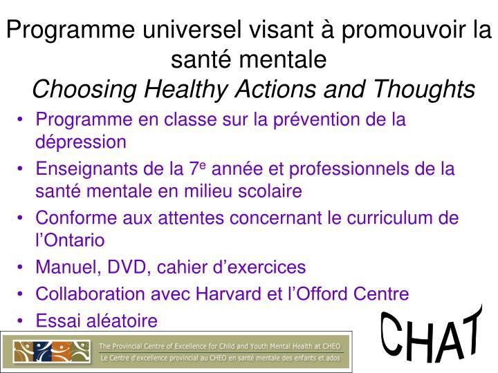 Programme universel visant à promouvoir la santé mentale