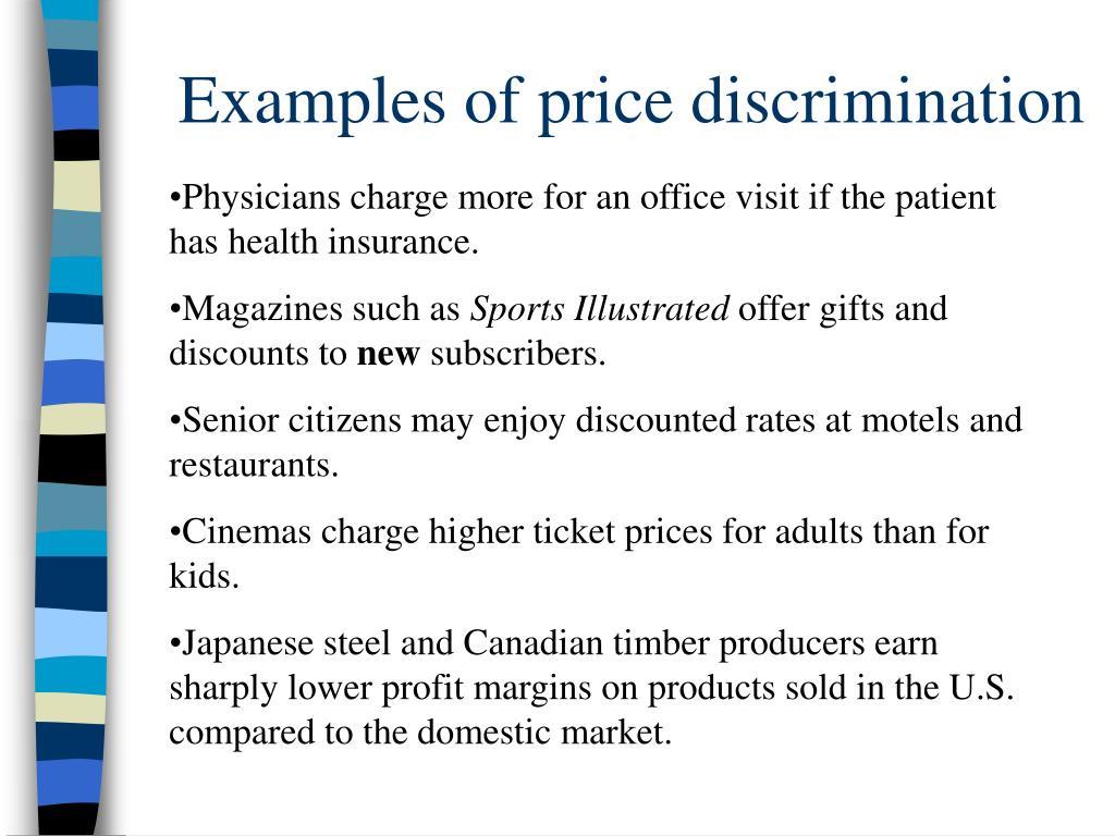 Examples of price discrimination