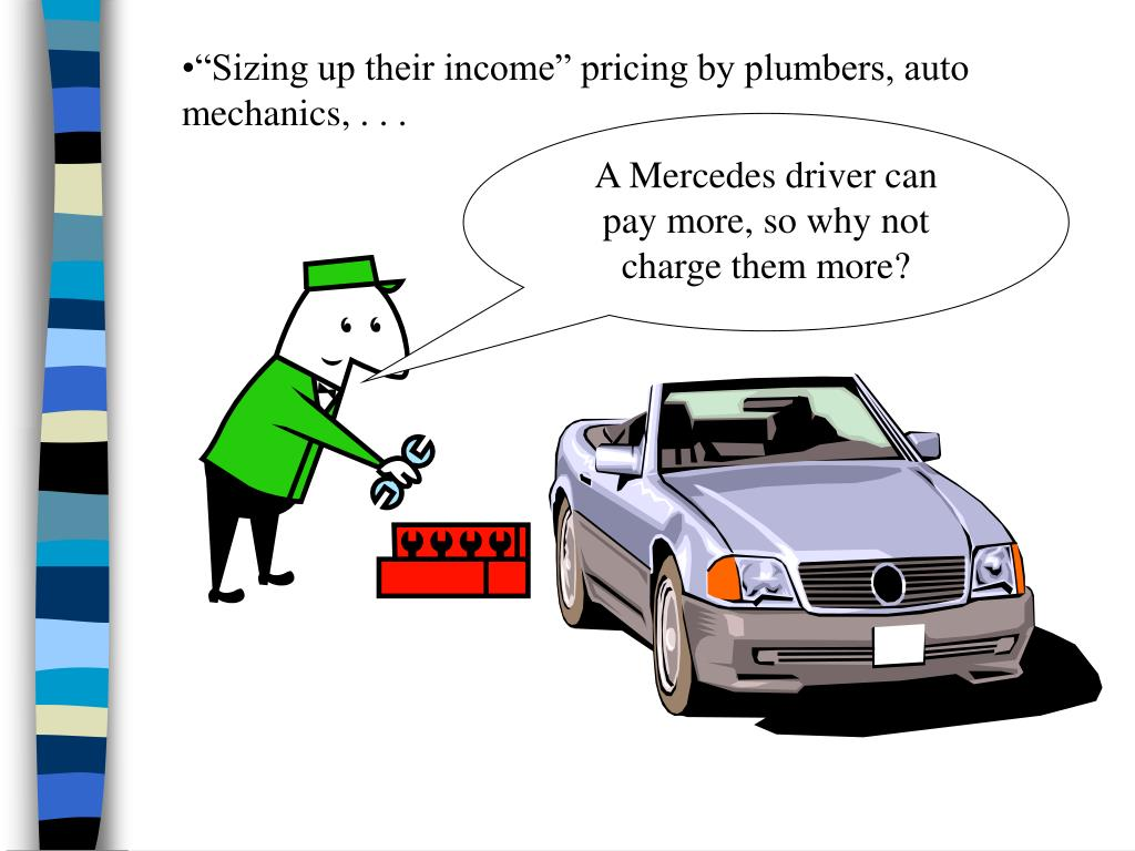 """""""Sizing up their income"""" pricing by plumbers, auto mechanics, . . ."""