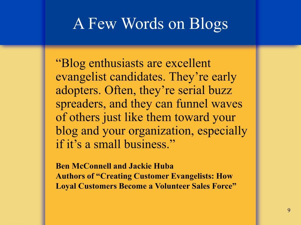 A Few Words on Blogs