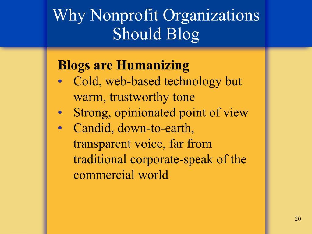 Why Nonprofit Organizations Should Blog