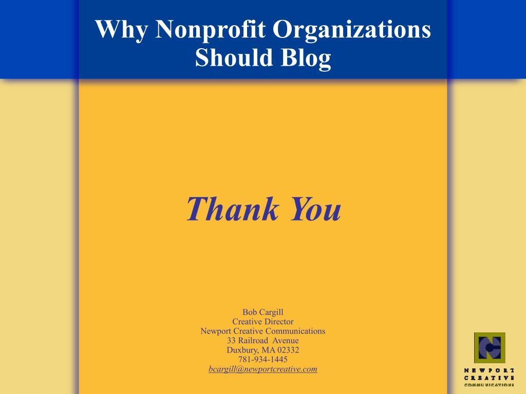 Why Nonprofit Organizations