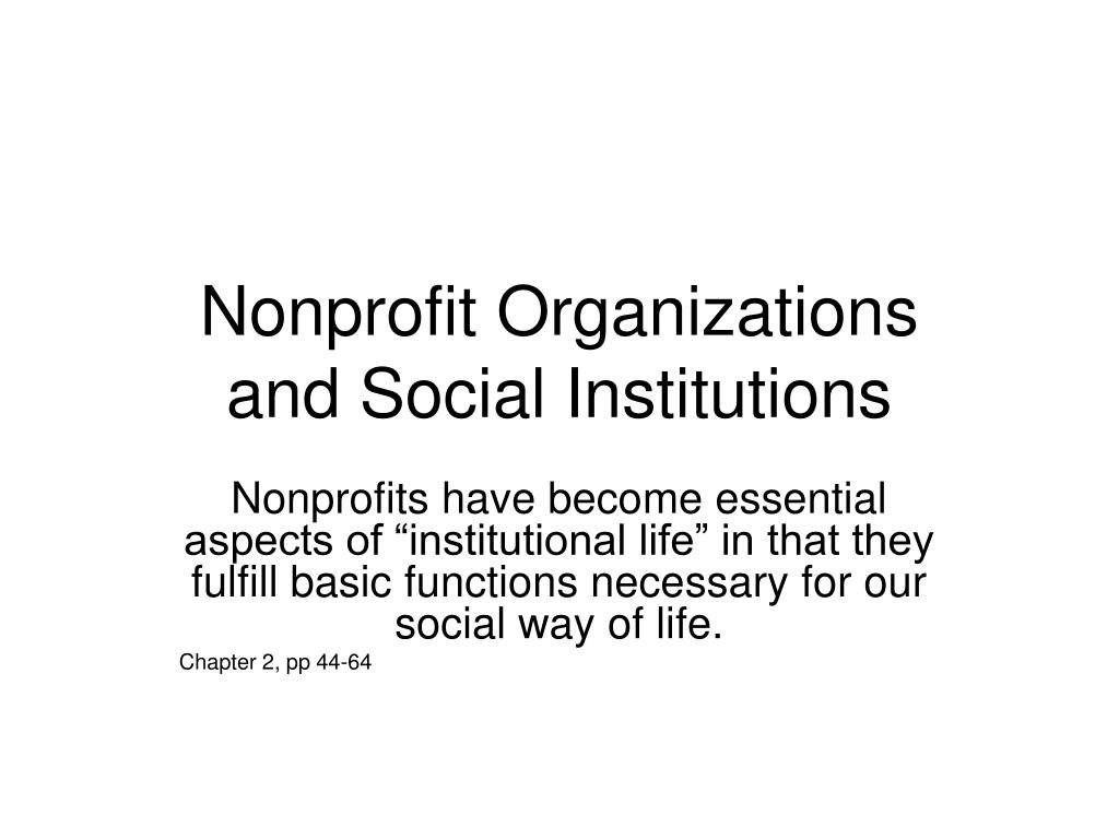 nonprofit organizations and social institutions l.
