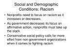 social and demographic conditions racism