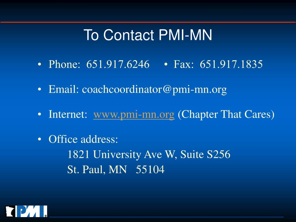 To Contact PMI-MN