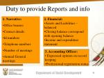 duty to provide reports and info31