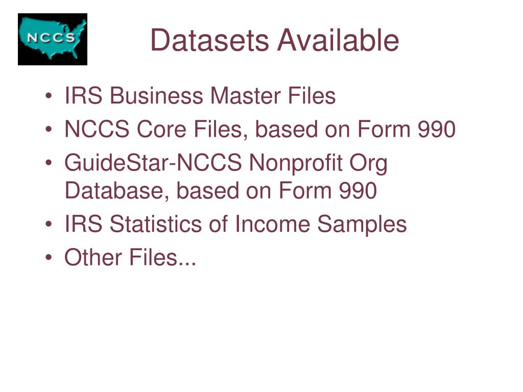 Datasets Available