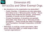 dimension 3 501 c 3 s and other exempt orgs