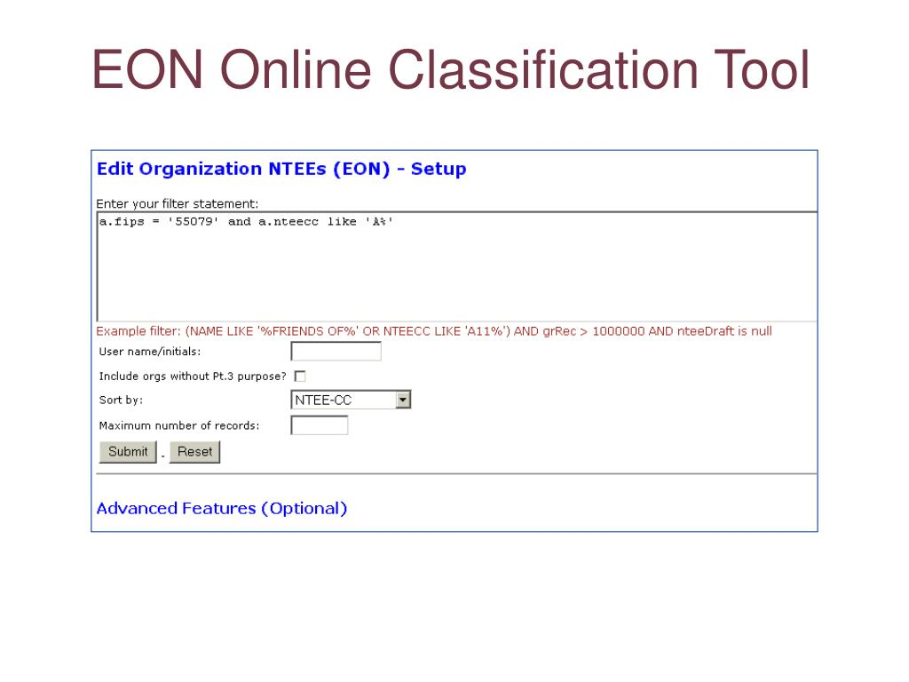 EON Online Classification Tool