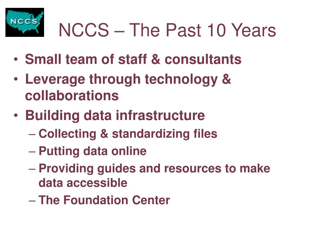 NCCS – The Past 10 Years