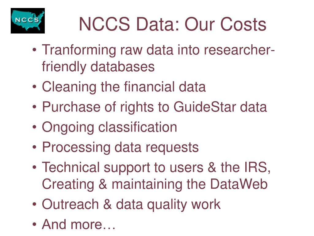 NCCS Data: Our Costs
