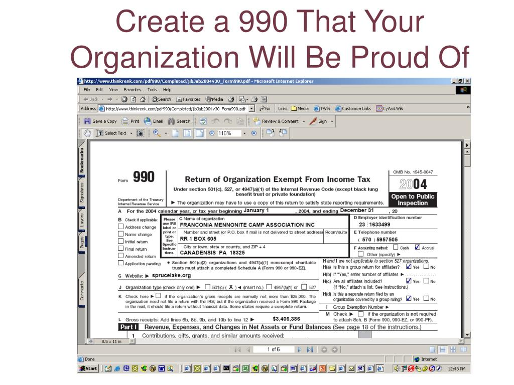 Create a 990 That Your Organization Will Be Proud Of