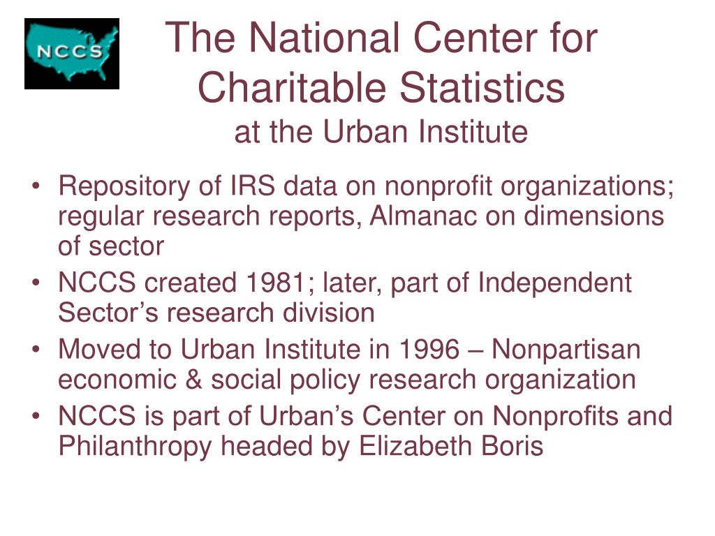 The National Center for Charitable Statistics