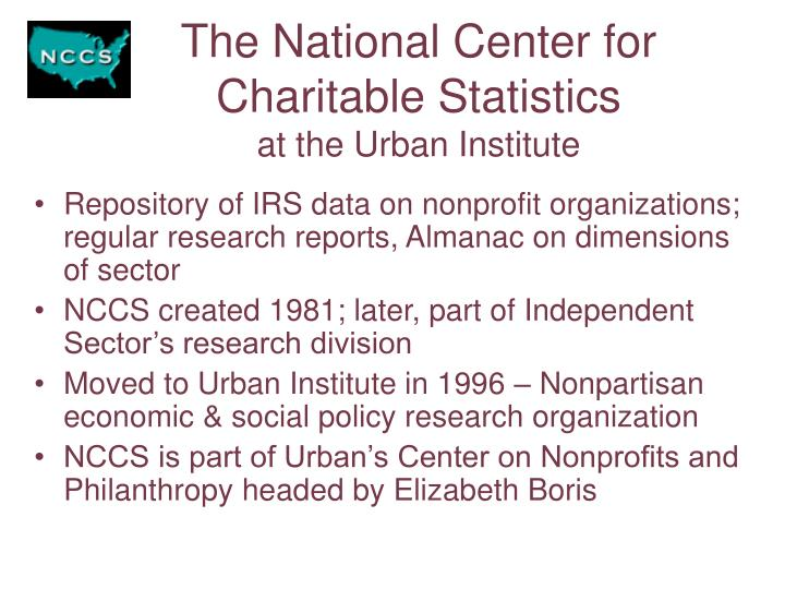 The national center for charitable statistics at the urban institute