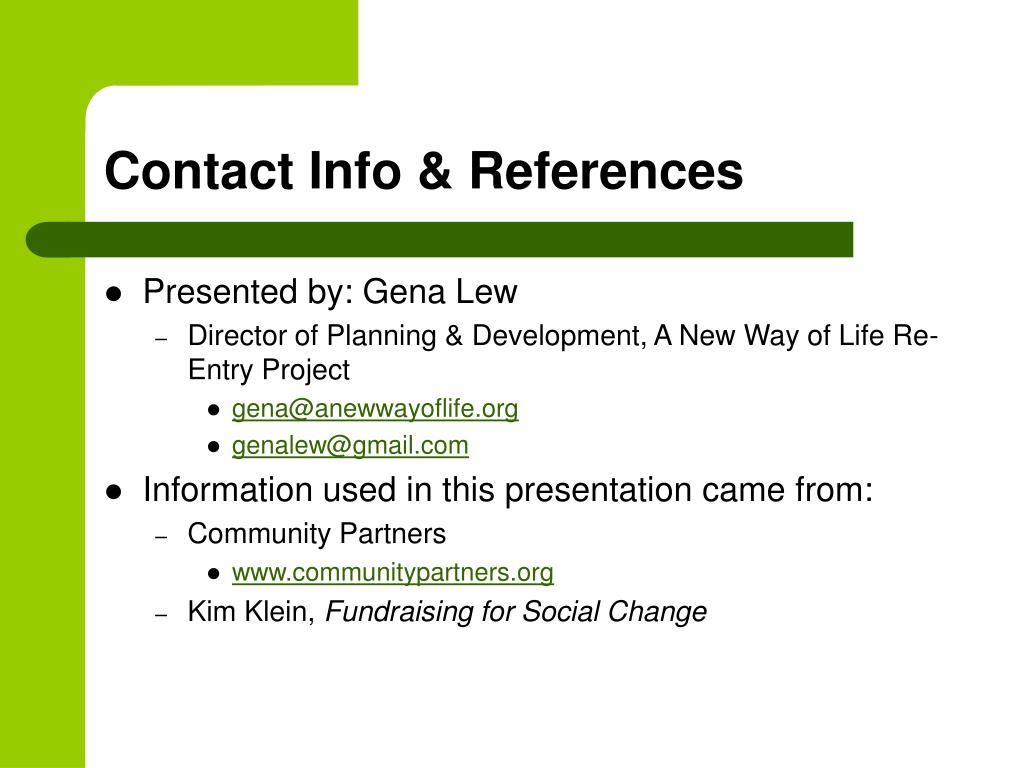 Contact Info & References