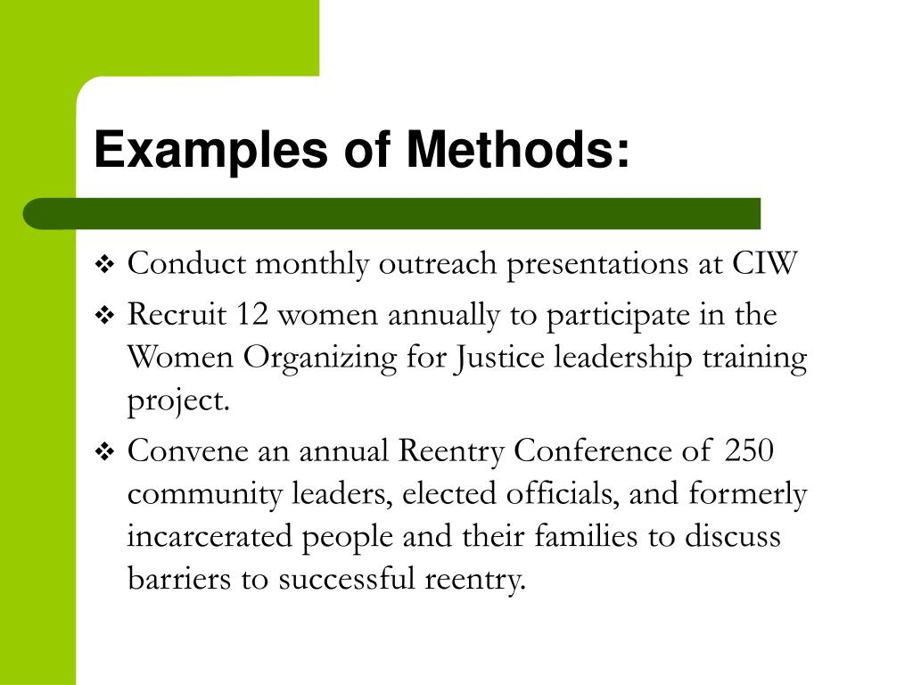 Examples of Methods: