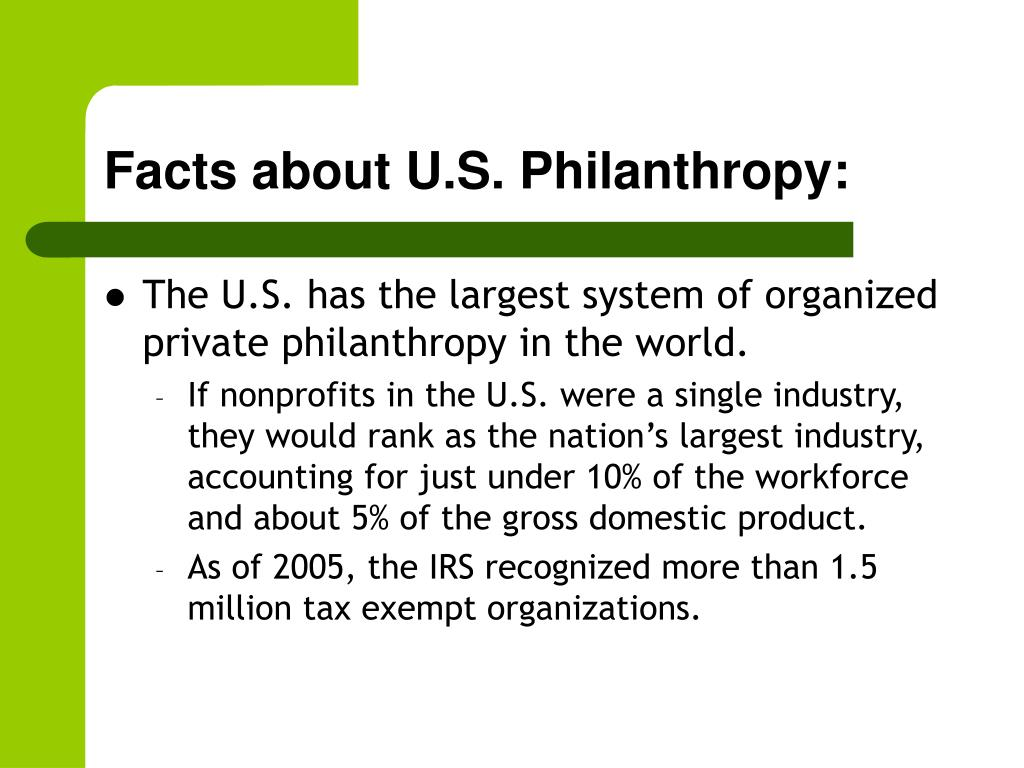 Facts about U.S. Philanthropy: